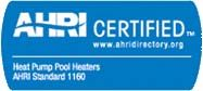 Heat Pump Pool Heater is AHRI Certified